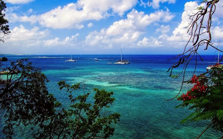A picture of the ocean and a reef, with green trees and the sky visible in Ocho Rios, Jamaica