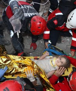 A child taken alive from a building destroyed by an earthquake. Photograph take by Afad.
