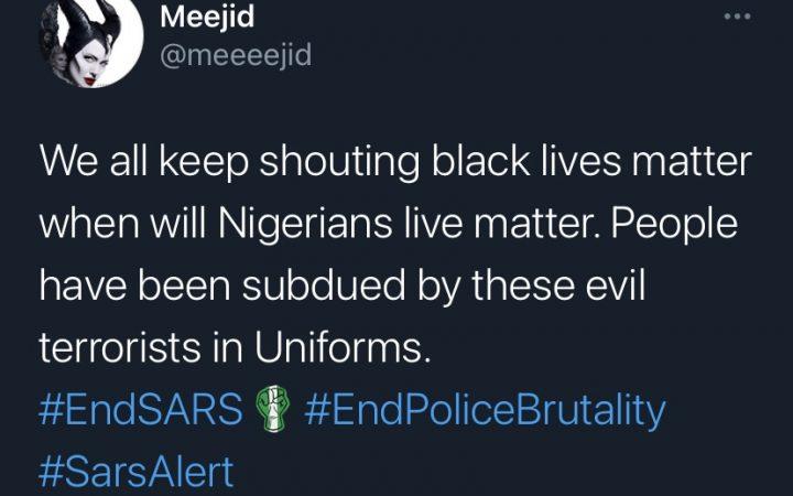 Screenshot of twitter user advocating for EndSARS