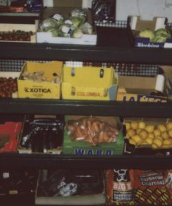 Fresh fruit and vegetables taken on polaroid in a south London grocery