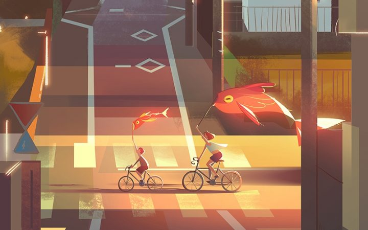 animation of two people on a bike