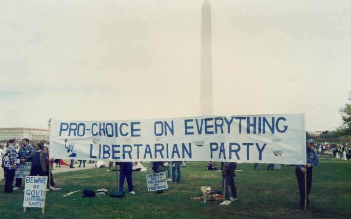 Libertarian party members demonstrating at a pro choice rally in Washington D.C.