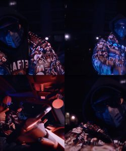 Multiple images taken from the rapper Teeway's music video, Dinner Time.