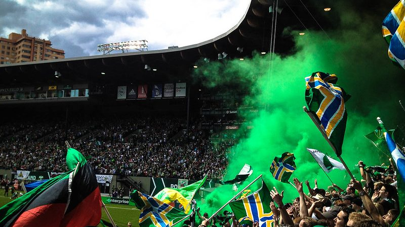 Portland Timbers fans showing Cascadia imagery