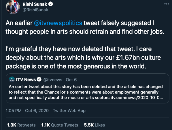 Rishi Sunak twitter post ITV