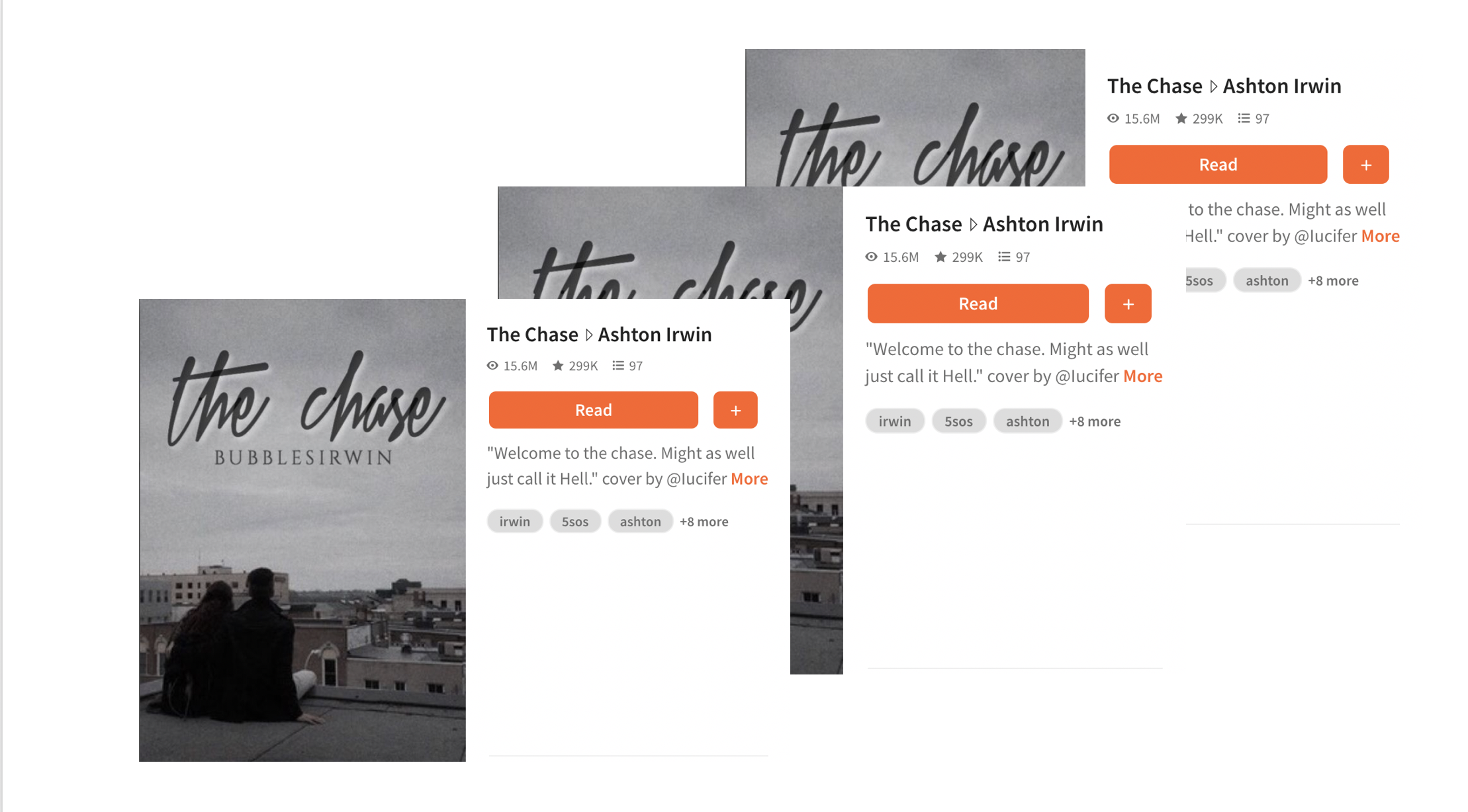 The Chase's front cover on Wattpad - 3 images of same cover laid ontop of eachother