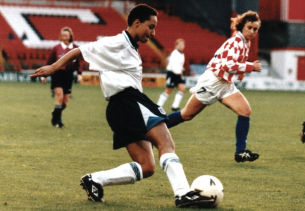 Picture of Hope Powell during a game for the England's football team in 1995.
