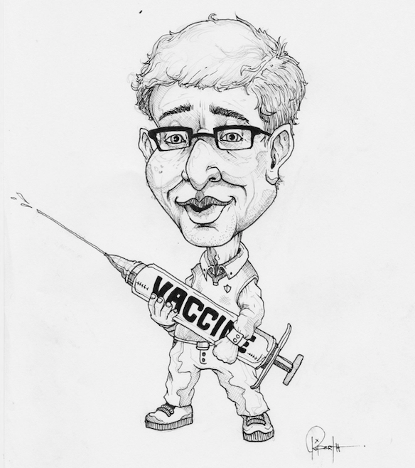 Illustration of Bill Gates holding large vaccine