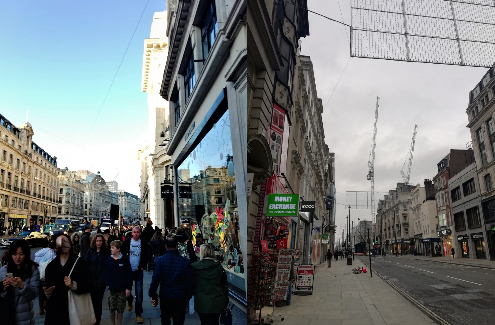 Oxford Street on Black Friday in 2019 and 2020
