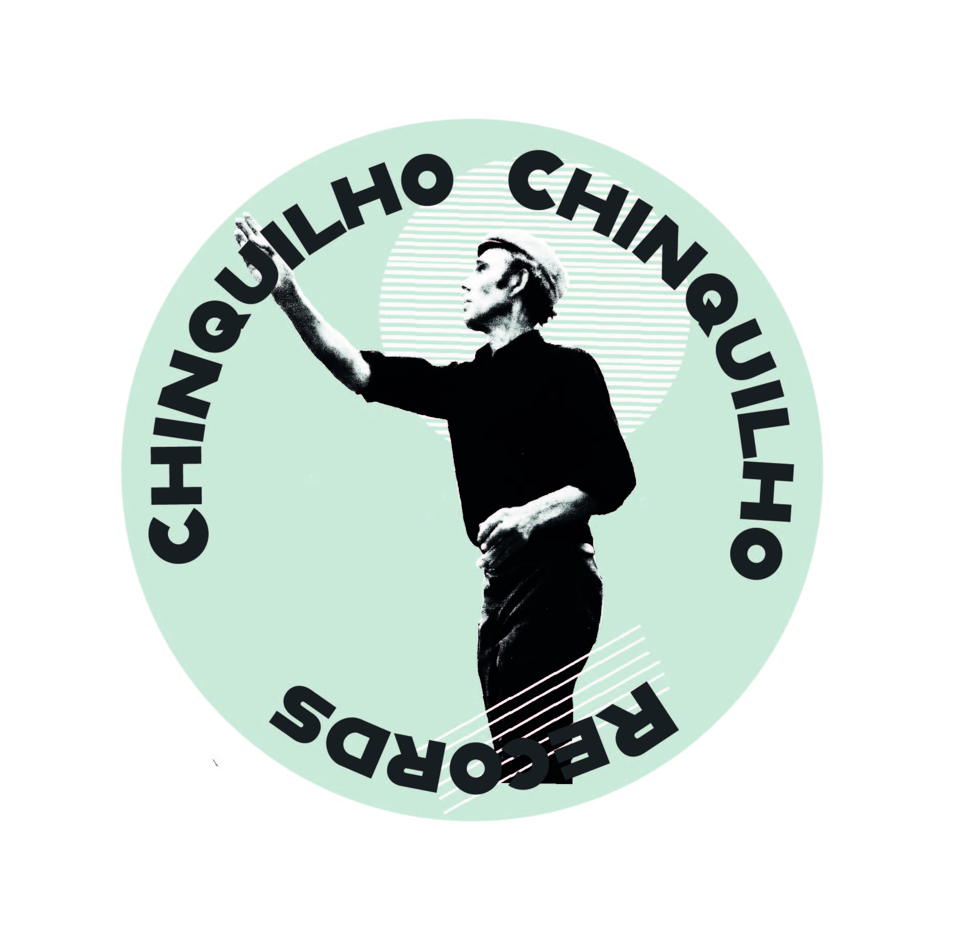 "it is a circular logo. The background is a pale mint green. In the centre is a black & white photo of a man throwing something. Behind his head is a circle made up of white lines, & in front of his legs are white diagonal lines. At the top of the logo is the word ""Chinquilho"" repeated twice & at the bottom the word ""records"""