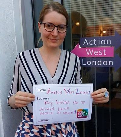 Employment advisor, Ana Andronic stands for photo outside the charity's office