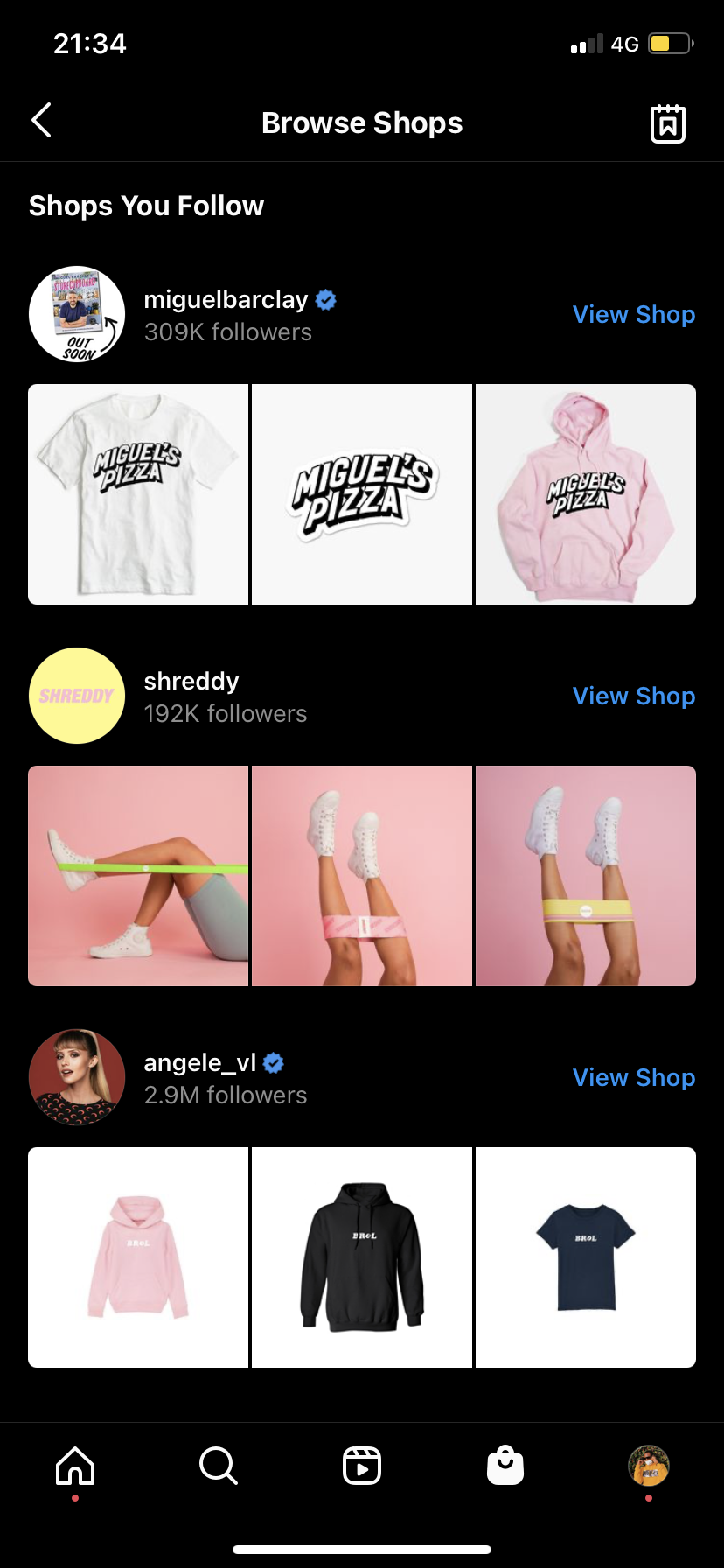 A screenshot taken of Instagram's Shop tab feature, displaying a list of online shops and products