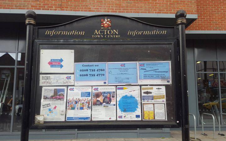 Public notice board pictured in town square