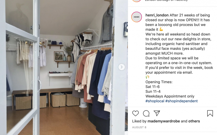 An instagram screenshot from Henri clothing brand showing the inside of the store.