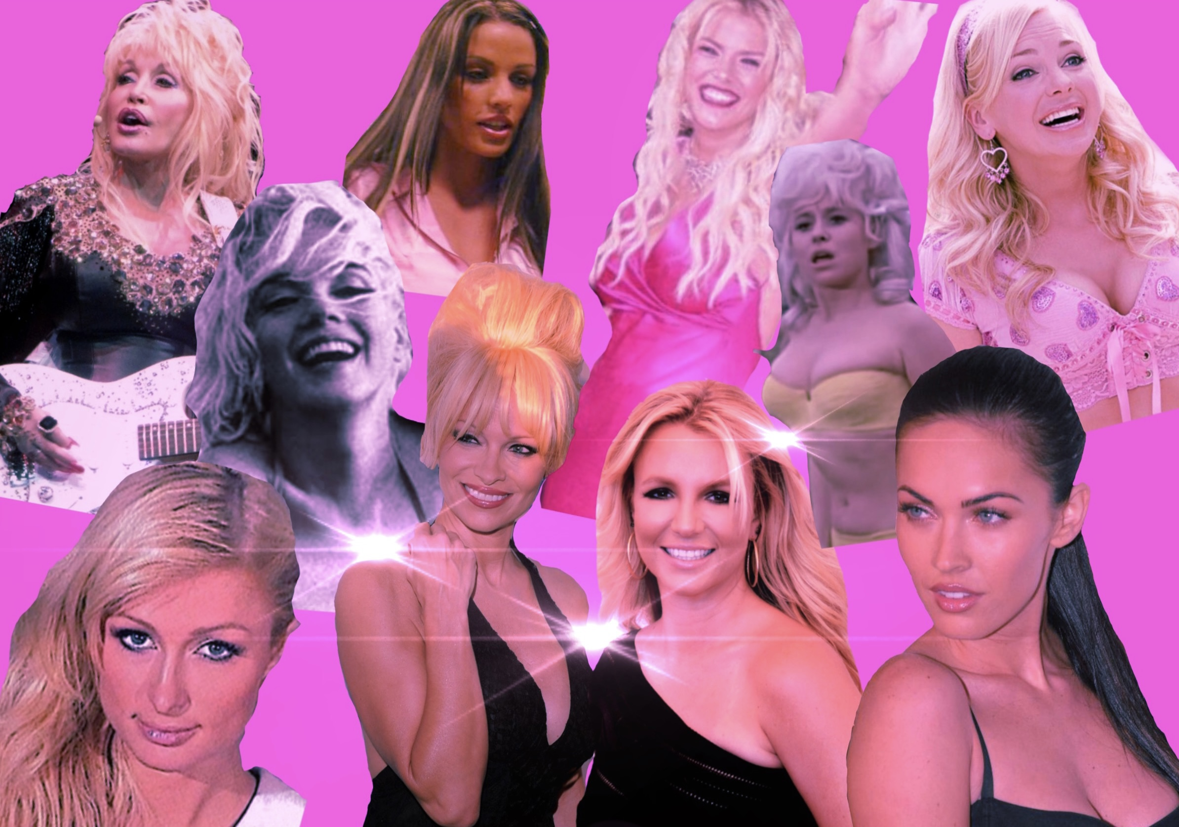 Photo collage of celebrities which has been referred to as bimbos