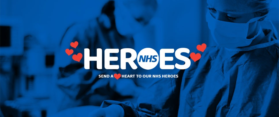 NHS Heroes, an image showing NHS staff and text saying send a heart to NHS heroes