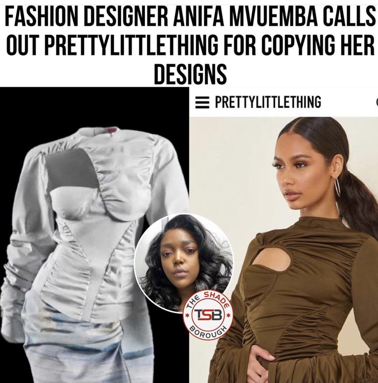 Independent designer vs fast fashion brand PLT, image from public instagram.