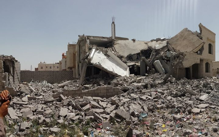 destroyed house in Sanaa Yemen
