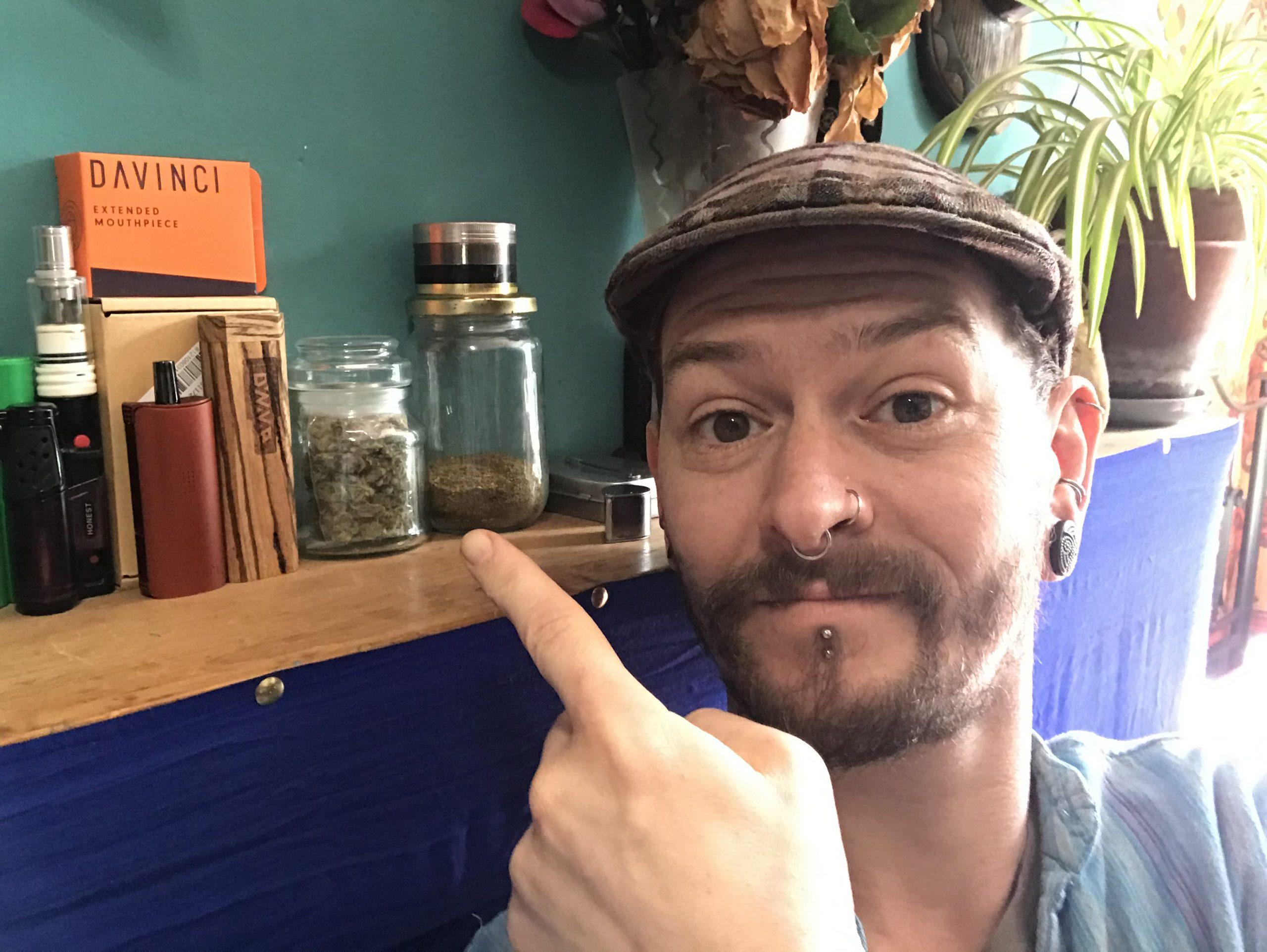 Showing JD proudly displaying his medication