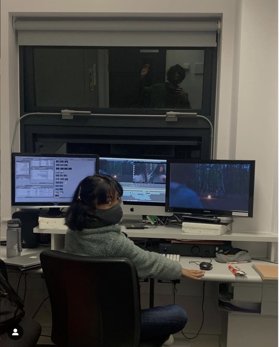 Once familiar crew working on post-production in studio
