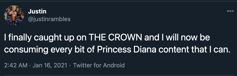 tweet in support of Princess Diana