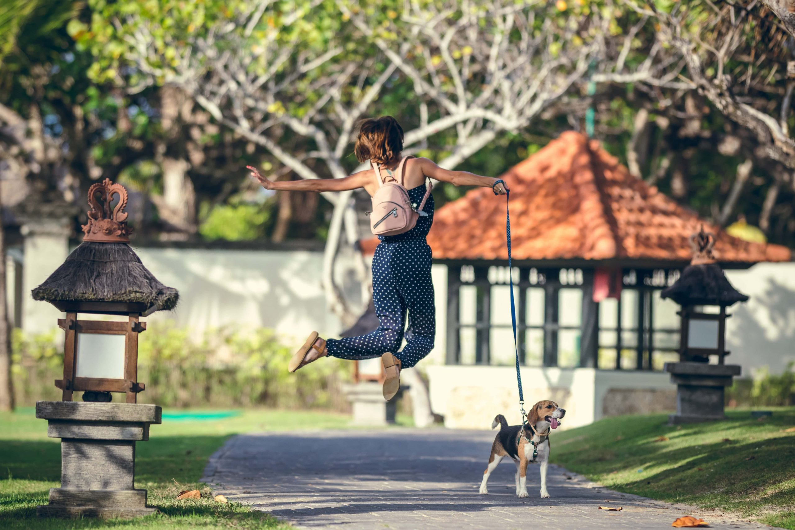 woman jumping in the air in the park, facing away from the camera. Whilst holding a beagle puppy by the lead.