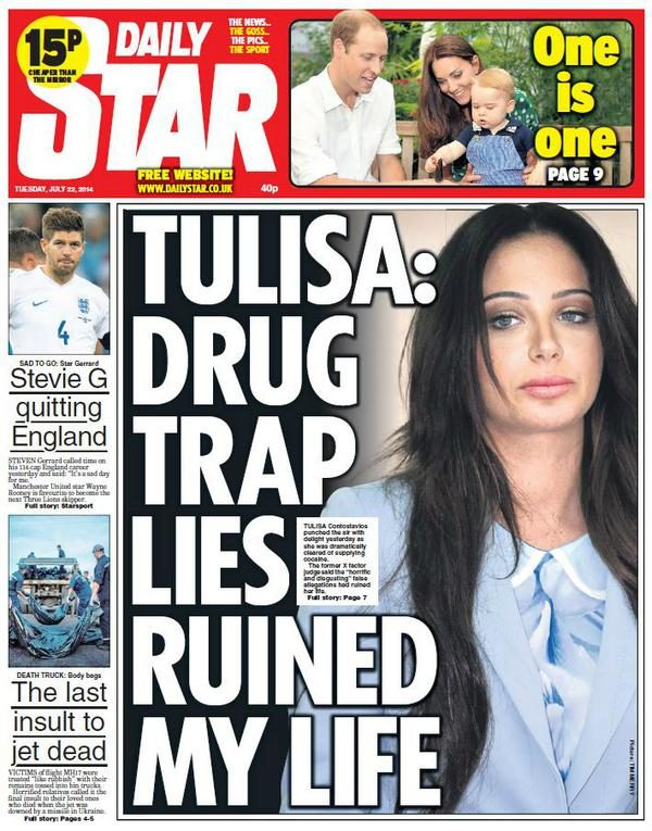Daily Star front page of Tulisa
