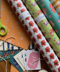 Curlicue wrapping paper laid out.