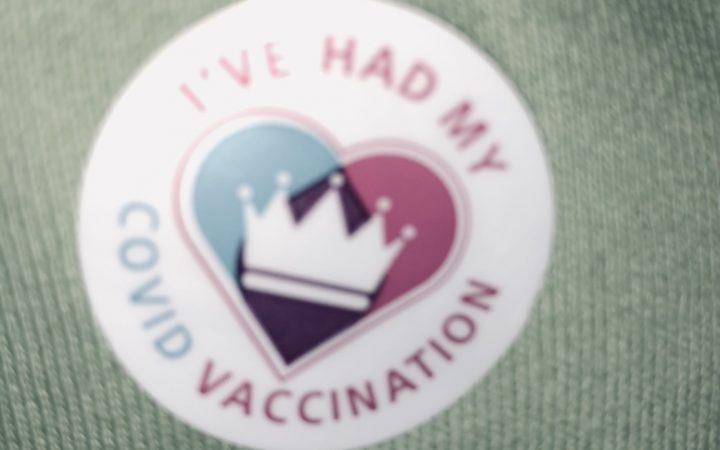 Covid-19 vaccine sticker given at the vaccine hub