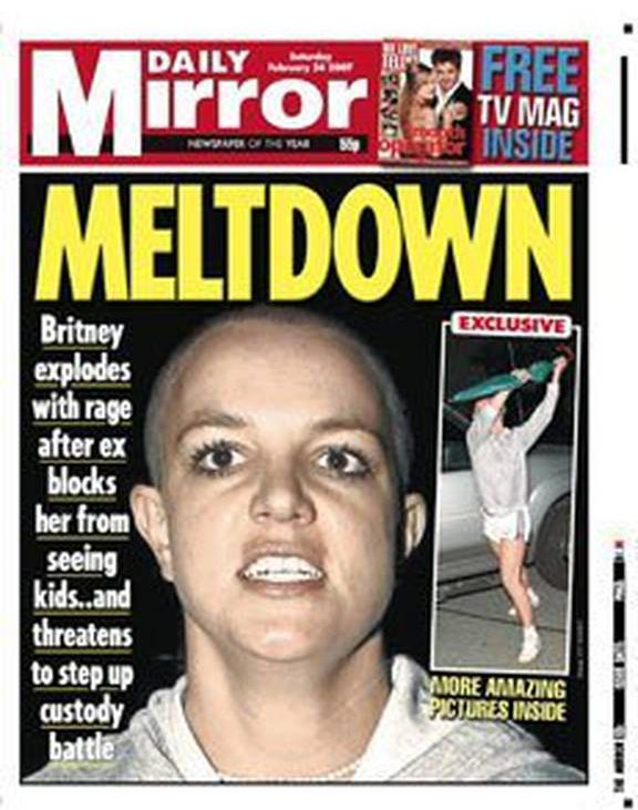 Britney meltdown front page of Daily Mail