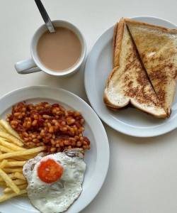 A classic fry up with toast and tea