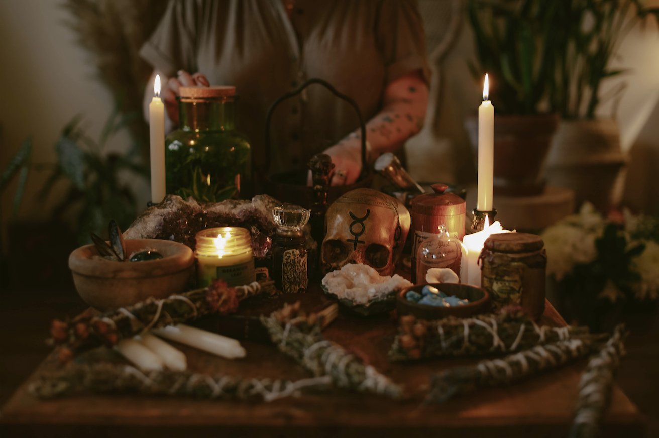 A photograph of witchcraft tools used for rituals and casting spells. Photography is by Emma Griffin