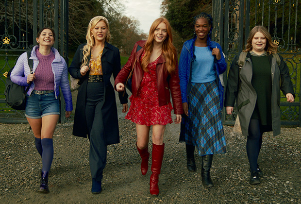 A lineup of Fate: The Winx Club Saga characters walking happily together in a line
