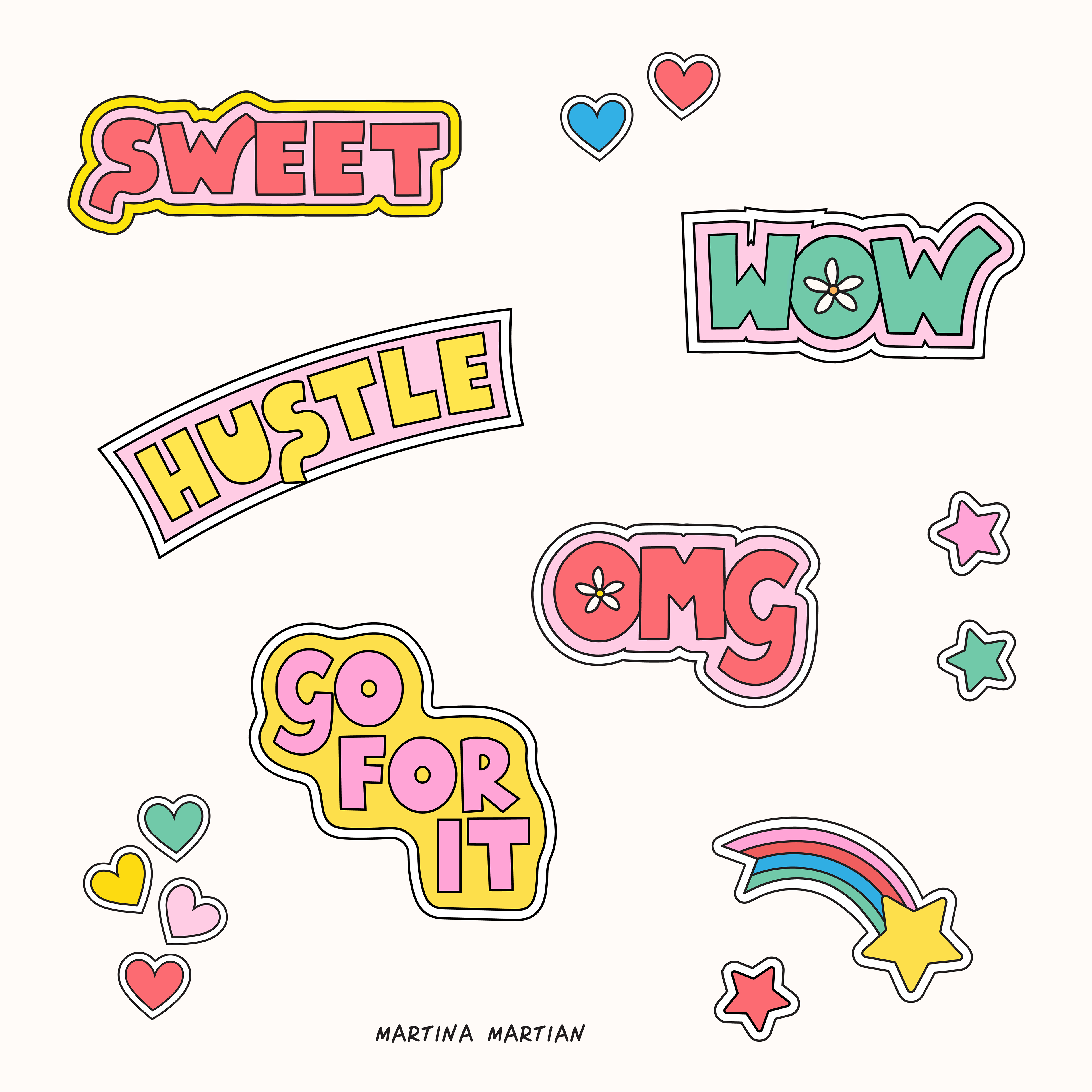 """Martina's colourful Positivity stickers for Snapchat users, with """"omg"""", """"wow"""", """"hustle"""", """"go for it"""", """"sweet""""."""