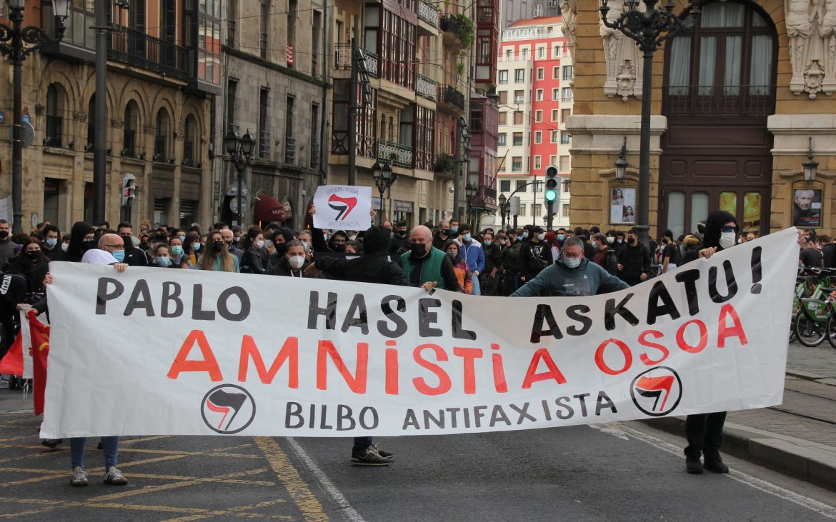 March in the Basque country following the arrest of Pablo Hasel.