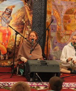 Hare Krishnas singing in a temple