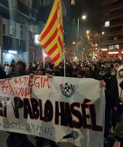 Protests in Barcelona over the arrest of rapper Pablo Hasél