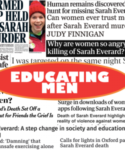 A collage of newspaper clippings and screenshots depicting the media's reaction following Sarah Everard's murder