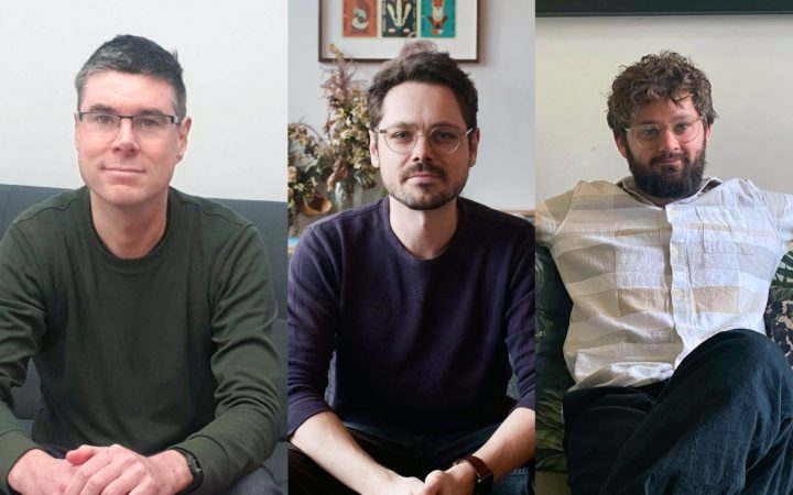 Collage of the three Fronted founders pictured, each of them in their own living room.