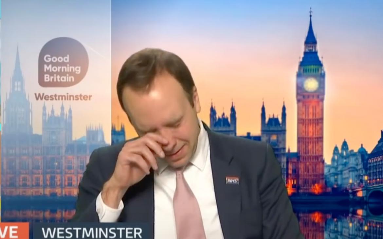 Matt Hancock on Good Morning Britain seemingly wiping away a tear