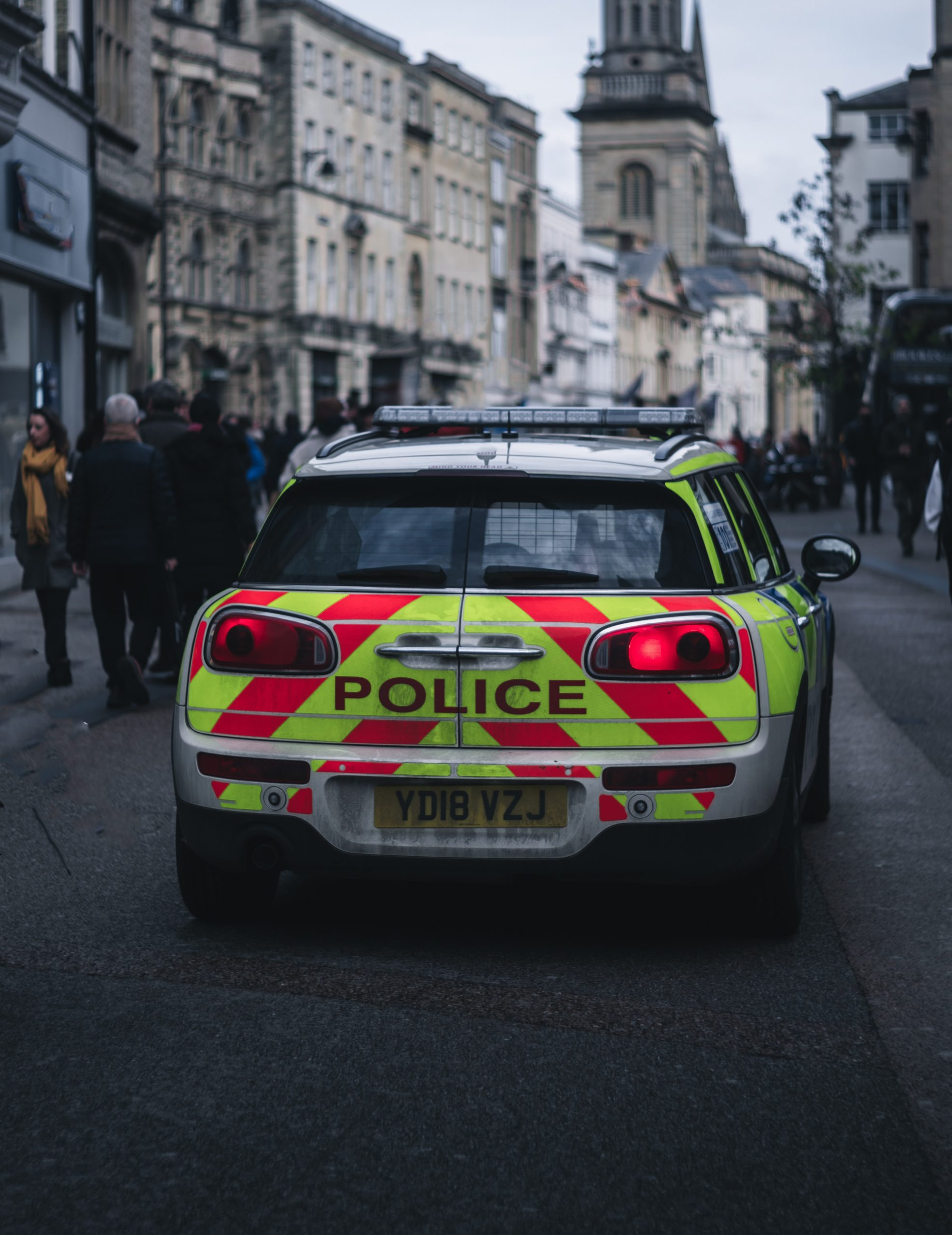 Picture of the back of a police car